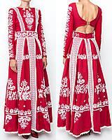 Šaty - Červené ľanové dlhé šaty Slavianka - 8881884_