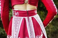 Šaty - Červené ľanové dlhé šaty Slavianka - 8881890_