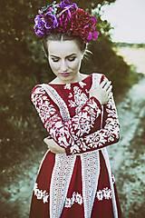Šaty - Červené ľanové dlhé šaty Slavianka - 8881891_