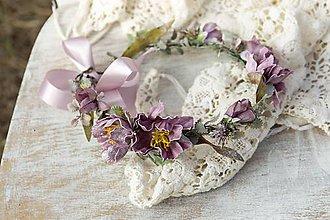 Ozdoby do vlasov - Kvetinový venček ,,lila,, - 8884611_