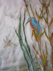 Šály - Maľovaný šál - Dunajske vody - 8881407_