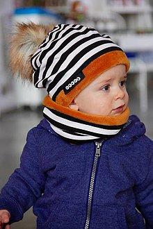 Detské súpravy - zimný Obojstranný set s menom a odopínacím brmbolcom black stripes & apricot - 8884429_