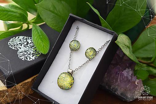 Zlatožltá sada sklenených šperkov