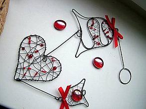 Dekorácie - záves zvončekový so ♥  45cm (Červená) - 8885286_