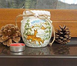 Svietidlá a sviečky - Bacuľatý svietnik-srnky - 8888029_