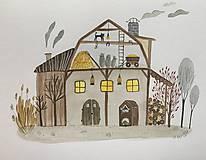 - Chalupka 6 Stodola ilustrácia / originál maľba  - 8884881_