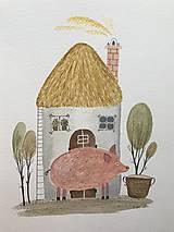 - Chalupka 10 prasiatko ilustrácia /originál maľba  - 8884906_