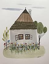 - Chalupka 15 kvetinová záhrada ilustrácia / originál maľba  - 8884910_