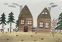 - Chalupka pohľadnica ilustrácia / originál maľba - 8884915_