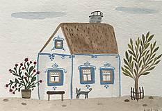 - Chalupka 2 pohľadnica ilustrácia / originál maľba  - 8884917_