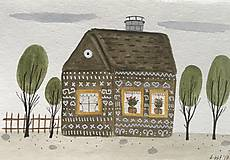 - Chalupka 3 pohľadnica ilustrácia / originál maľba - 8884920_