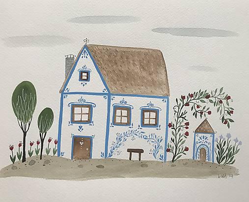 Chalupka 5 Modrá ilustrácia / originál maľba