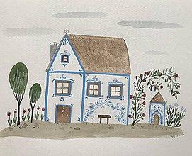 Obrazy - Chalupka 5 Modrá ilustrácia / originál maľba - 8884880_