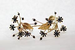 Ozdoby do vlasov - Mosadzný konárikový venček s čiernymi kvetmi a čiernymi achátmi - Slavianka - 8885549_