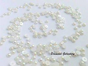 Galantéria - Ozdobné kamienky 6 mm - AB biele - 8887628_