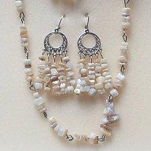 Sady šperkov - sada s béžovým  zlomkovým achátom - 8885378_