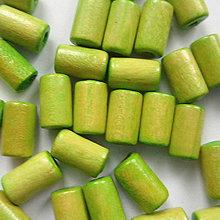 Korálky - Drevený valček 10x6mm-10g (sv.zelená) - 8886657_
