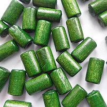 Korálky - Drevený valček 10x6mm-10g (tm.zelená) - 8886661_