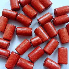Korálky - Drevený valček 10x6mm-10g (tehlová) - 8886693_