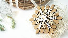 - Drevená vianočná vločka K - 8885212_