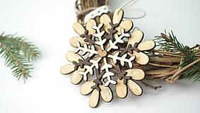 - Drevená vianočná vločka L - 8886130_