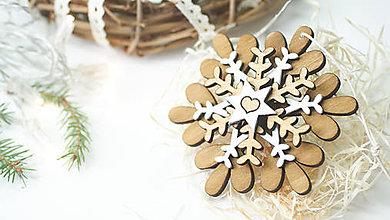 Dekorácie - Drevená vianočná vločka K - 8885212_