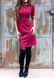 Šaty - Bordové šaty zoštíhľujúcim strihom - 8888145_