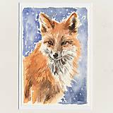 Papiernictvo - Ručne maľovaná pohľadnica - Líška - 8888795_