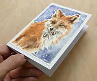 Papiernictvo - Ručne maľovaná pohľadnica - Líška - 8888796_