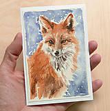Papiernictvo - Ručne maľovaná pohľadnica - Líška - 8888798_