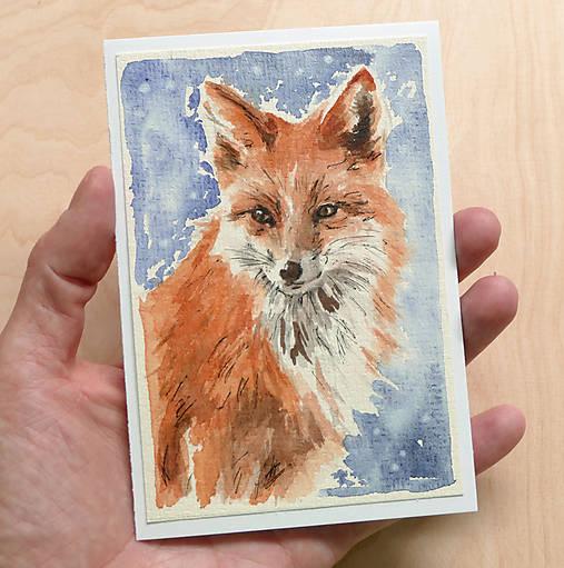 Ručne maľovaná pohľadnica - Líška