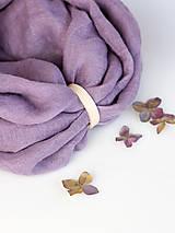 Šatky - Levanduľový hrejivý ľanový nákrčník - 8888222_