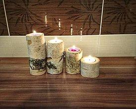 Svietidlá a sviečky - Drevený svietnik - sada brezových sviečok - 8888718_