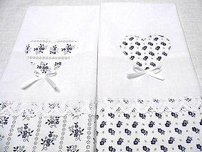 Úžitkový textil - bavlnené utierky modrotlač s krajkou -súprava - 8888131_