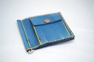 Peňaženky - Pánská kožená peňaženka DOLAROVKA -modrá - 8884938_
