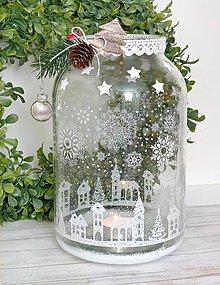 Svietidlá a sviečky - Zimná krajina svietnik XL - 8888660_