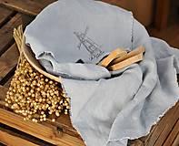 Úžitkový textil - Plátno na chlieb s vintage aplikáciou (sivomodré) - 8887639_