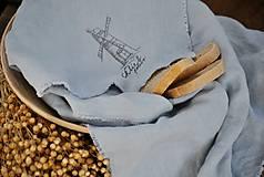 Úžitkový textil - Plátno na chlieb s vintage aplikáciou (sivomodré) - 8887640_