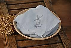 Úžitkový textil - Plátno na chlieb s vintage aplikáciou (sivomodré) - 8887641_