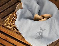 Úžitkový textil - Plátno na chlieb s vintage aplikáciou (sivomodré) - 8887642_
