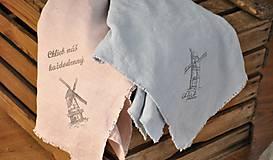 Úžitkový textil - Plátno na chlieb s vintage aplikáciou (sivomodré) - 8887643_
