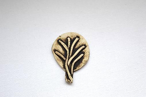 Keramická brošňa Stromček (Zima)