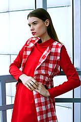 Iné oblečenie - Červeno-biela károvaná vestička - 8887119_