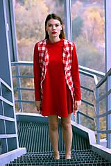 Iné oblečenie - Červeno-biela károvaná vestička - 8887120_
