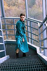 Šaty - Tyrkysové bavlnené šaty vo vintage štýle s mašľou - 8887209_