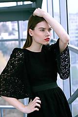 Šaty - Čierne krajkové pompézne šaty - 8887268_