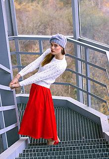 Sukne - Červená sukňa so záhybmi - 8886703_