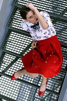 Sukne - Červená Neopearl sukňa - 8886869_