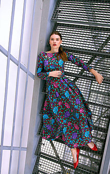 Šaty - Bavlnené maxi šaty plné farebných kvetov - 8886977_