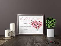 Papiernictvo - Tlačené svadobné oznámenie Love Tree - 8889248_